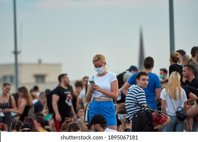 Novi Sad, Serbia, July 11 2020. Protesters demonstrated against the government during a covid - 19 pandemic, and TAX. association of online workers. Riots of protesters. Miran Pogacar