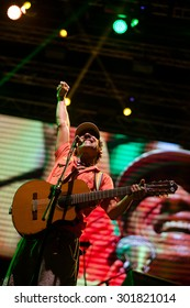 NOVI SAD, SERBIA - JULY 11 2015: Manu Chao La Ventura performs at EXIT 2015 Music Festival, on July 11, 2015 at the Petrovaradin Fortress in Novi Sad, Serbia.
