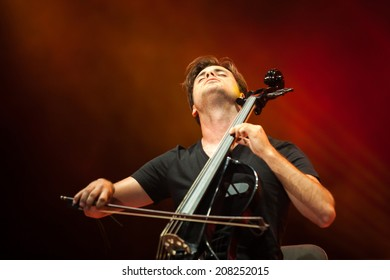 NOVI SAD, SERBIA - JULY 12: 2Cellos performs at EXIT 2014 Best Major European Music Festival, on July 12, 2014 at the Petrovaradin Fortress in Novi Sad, Serbia.