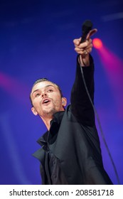 NOVI SAD, SERBIA - JULY 13: HURTS performs at EXIT 2014 Best Major European Music Festival, on July 13, 2014 at the Petrovaradin Fortress in Novi Sad, Serbia.