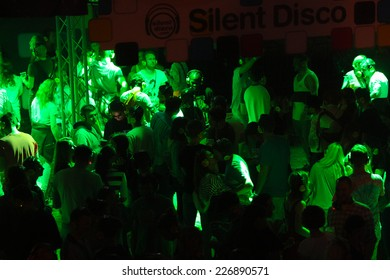 NOVI SAD, SERBIA - JULY 13: Crowd enjoying silent disco stage at Exit festival on July 13th, 2014 in Petrovaradin fortress