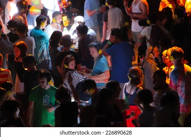 NOVI SAD, SERBIA - JULY 13: Crowd enjoying silent disco stage at Exit festival on July 13, 2014 in Petrovaradin fortress