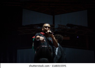 NOVI SAD, SERBIA - JULY 14, 2018: French Montana, alias Karim Kharbouch, a american rapper and recording artist, performing on stage during the of Exit Festival 2018