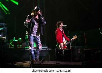 NOVI SAD, SERBIA - JULY 15: Guns N' Roses performs at EXIT 2012 Music Festival, on July 15, 2012 at the Petrovaradin Fortress in Novi Sad, Serbia. (Axl Rose)