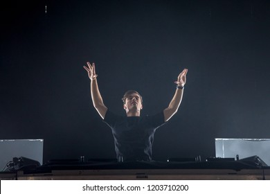 NOVI SAD, SERBIA - JULY 15, 2018: Martin Garrix, aka Martijn Garritsen, a Dutch singer electro dj and songwriter, performing on stage during the of Exit Festival 2018