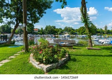 Novi Sad, Serbia July 16, 2019: Fishing island Ribarac and Marine with boats on the river by the Novi Sad city.