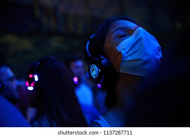 NOVI SAD, SERBIA - JULY 19, 2017: Crowd enjoying silent disco stage at Exit festival on July 7, 2017 in Petrovaradin fortress in Novi Sad, Serbia