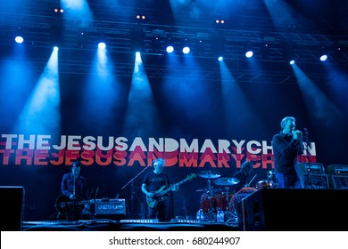 NOVI SAD, SERBIA - JULY 6, 2017: The Jesus and Mary Chain, focused on Jim Reid, the singer, performing on stage during the 2017 edition of the Exit Festival in Novi Sad, Serbia