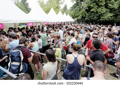 NOVI SAD, SERBIA - JULY 7, People infront of the Voucher - Tickets exchange tents at EXIT 2011 Music Festival, on July 7, 2011 in the Petrovaradin Fortress in Novi Sad.