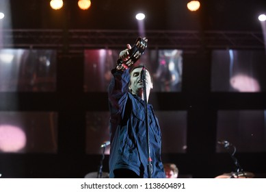 NOVI SAD, SERBIA - JULY 7, 2017: Former Oasis head Liam Gallagher performing on stage during the 2017 edition of Exit music festival in Novi Sad, Serbia on July 7, 2017