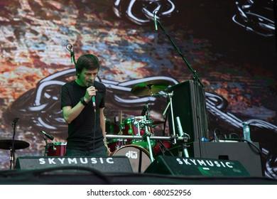 NOVI SAD, SERBIA - JULY 7, 2017: Branislav Babic and his band, Obojeni program,performing on stage during the 2017  Exit Festival. Obojeni program is a Serbian alternative rock band from Novi Sad