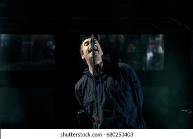 NOVI SAD, SERBIA - JULY 7, 2017: Former Oasis head Liam Gallagher performing on stage during the 2017 edition of Exit Festival