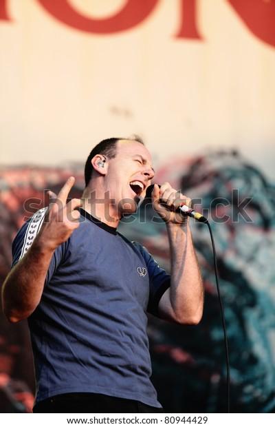 NOVI SAD, SERBIA - JULY 7: BAD RELIGION performs at EXIT 2011 Music Festival, on July 7, 2011 at the Petrovaradin Fortress in Novi Sad, Serbia.