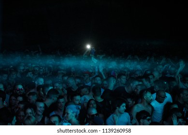 NOVI SAD, SERBIA - JULY 8, 2017: Crowd  on Dance Arena stage at EXIT Music Festival in , Petrovaradin Fortress in Novi Sad, Serbia on July 8, 2017