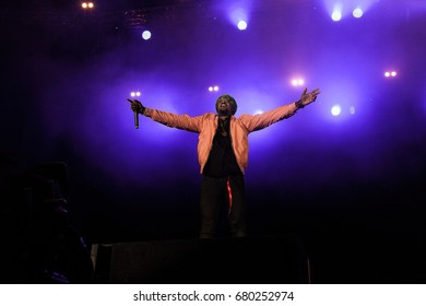 NOVI SAD, SERBIA - JULY 8, 2017: Jae Murphy, Jason Derulo's DJ, performing on Exit festival main stage during the 2017 edition