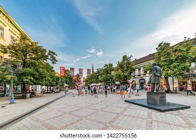 Novi Sad, Serbia June 11, 2019: People walk at the Old Town street of Novi Sad. Main promenade in Novi Sad in Zmaj Jovina Street. Monument of poet Jovan Jovanovic Zmaj in Old town in Novi Sad