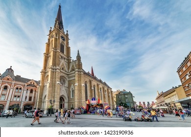 Novi Sad, Serbia June 11, 2019: Freedom Square (serbian: Trg slobode) is the main square in Novi Sad. There is a cathedral (The Name of Mary Church, Roman Catholic parish church). Exit tribe stand.