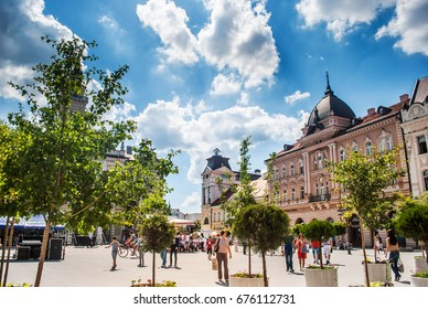 Novi Sad, Serbia - June 15, 2012: Facades of buildings in the center of Novi Sad, Serbia, with blue sky and white clouds, sunny day