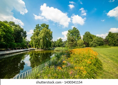 Novi Sad, Serbia - June 19, 2019: Danube Park or (Serbian: Dunavski Park) is an urban park in the downtown of Novi Sad. Formed in 1895, it is protected and is one of the symbols of the city.