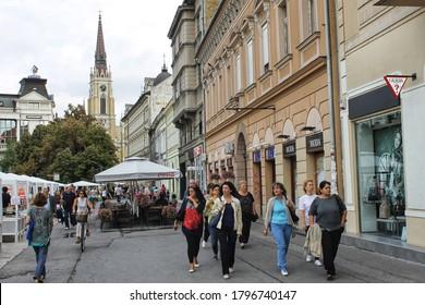 Novi Sad, Serbia - June, 2020: The people of Serbia. A typical scene from Novi Sad old town.