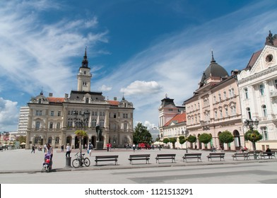 Novi Sad, Serbia - june 25,2018; City hall on a Liberty Square in the center of Novi Sad. Hometown of Exit festival