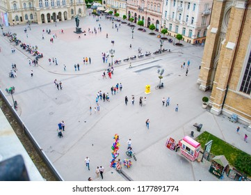 Novi Sad, Serbia - May 02, 2018: People photographed from a long distance