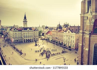 Novi Sad, Serbia - May 02, 2018: Main Square And City Hall Of Novi Sad, Serbia