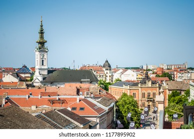 Novi Sad, Serbia - May 02, 2018: Roofs of Novi Sad, Serbia