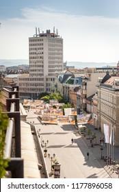 Novi Sad, Serbia - May 02, 2018: The main street in Novi Sad, with cafes and city views