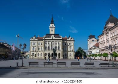 Novi Sad, Serbia - May 08, 2018: View of City Hall in Liberty Square (Trg Slobode) in Novi Sad