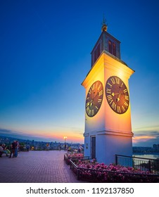 NOVI SAD, SERBIA - MAY 15, 2018. Clock Tower on the Petrovaradin fortress, Novi Sad, Serbia at sunset
