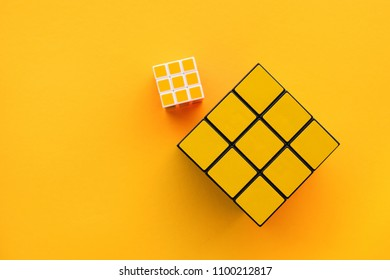 NOVI SAD, SERBIA - MAY 26, 2018: Two Rubik's Cubes, originally called Magic cube, was invented by a Hungarian sculptor and professor of architecture Erno Rubik in 1974. Illustrative editorial.