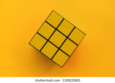 NOVI SAD, SERBIA - MAY 26, 2018: Rubik's Cube, originally called Magic cube, was invented by a Hungarian sculptor and professor of architecture Erno Rubik in 1974. Illustrative editorial.
