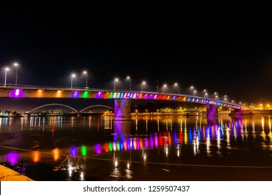 Novi Sad, Serbia May 26, 2018: Rainbow bridge, Novi Sad, Serbia