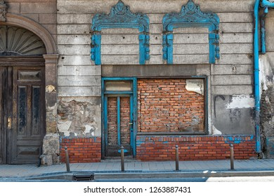 Novi Sad, Serbia - May 27, 2018: Bricked Up Doorway in downtown of Novi Sad, Serbia