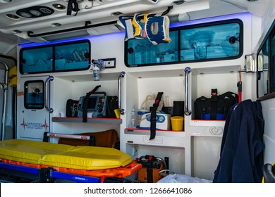 Novi Sad, Serbia - May 27, 2018: Inside an ambulance with medical equipment . Car for patient refer
