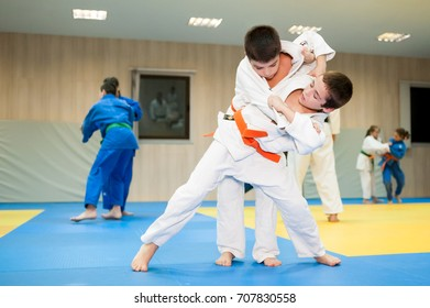 Novi Sad, Serbia - November 11, 2016: Young judoka of Novosadski judo club throwing his training partner