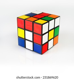 NOVI SAD, SERBIA - NOVEMBER 17, 2014: Rubik's Cube invented by a Hungarian architect Erno Rubik in 1974. Famous 3 dimensional puzzle.