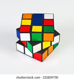 NOVI SAD, SERBIA - NOVEMBER 17, 2014: Rubik's Cube invented by a Hungarian architect Erno Rubik in 1974 is famous 3 dimensional puzzle.