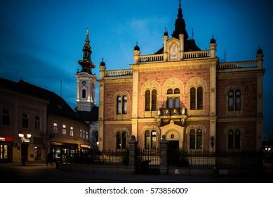 Novi Sad, Serbia, November 19, 2016: Novi Sad center, Bishop palace, European Capital of Culture 2021.