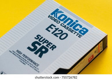 NOVI SAD, SERBIA - NOVEMBER 6, 2017: Konica VHS video cassette. Video Home System, recording tape cassettes was released in Japan in late 1970s. Retro video technology illustrative editorial.