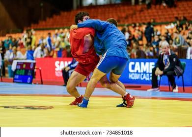 Novi Sad, Serbia - October 13, 2017: World Youth & Junior SAMBO Championships 2017 Novi Sad, Serbia