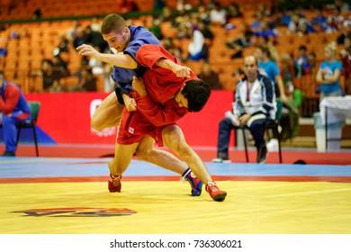 Novi Sad, Serbia - October 15, 2017: World Youth & Junior SAMBO Championships 2017 Novi Sad, Serbia