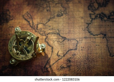 Novi Sad, Serbia - October 21, 2017: Old world map and compass