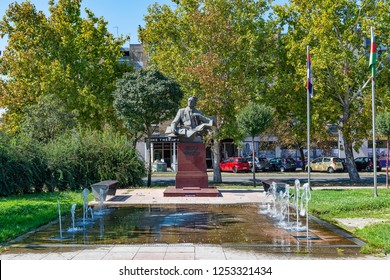 Novi Sad, Serbia - September 18, 2018: Park at the Belgrade Quay and monument of Uzeyir bey Abdul Huseyn oglu Hajibeyov (Azerbaijani poet) in Novi Sad.