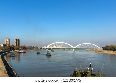 NOVI SAD, VOJVODINA, SERBIA - NOVEMBER 11, 2018: The Danube River, passing through the City of Novi Sad, Vojvodina, Serbia
