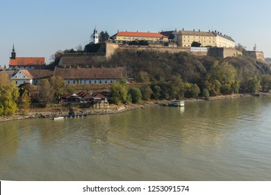 NOVI SAD, VOJVODINA, SERBIA - NOVEMBER 11, 2018: View of Petrovaradin Fortress from the Danube river in the City of Novi Sad, Vojvodina, Serbia