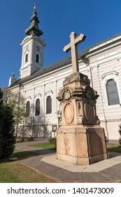 NOVI SAD, VOJVODINA, SERBIA - NOVEMBER 11, 2018: Orthodox Church of Saint George in City of Novi Sad, Vojvodina, Serbia