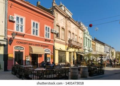 NOVI SAD, VOJVODINA, SERBIA - NOVEMBER 11, 2018: Typical Buildings and pedestrian street at the center of the City of Novi Sad, Vojvodina, Serbia