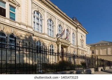 NOVI SAD, VOJVODINA, SERBIA - NOVEMBER 11, 2018: Building of Museum of Vojvodina at the center of the City of Novi Sad, Vojvodina, Serbia